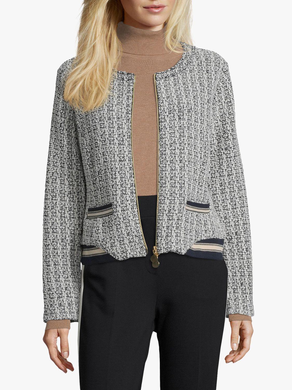 Betty Barclay Betty Barclay Sporty Tweed Jacket, Dark Blue/Cream