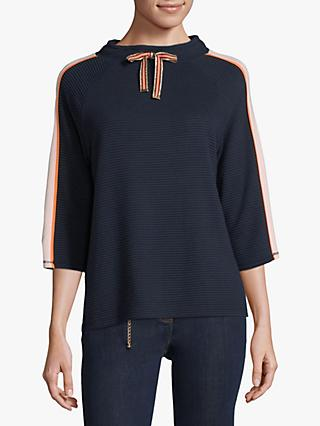 Betty Barclay Ribbed Jersey Sweat Top, Dark Blue/Rosé