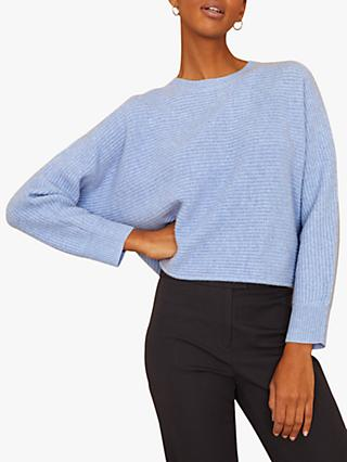 Jigsaw Cashmere Horizontal Rib Jumper, Soft Blue