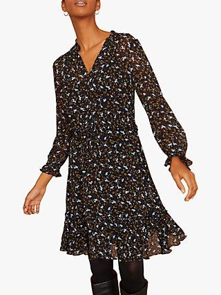 Jigsaw Scattered Floral Dress, Black