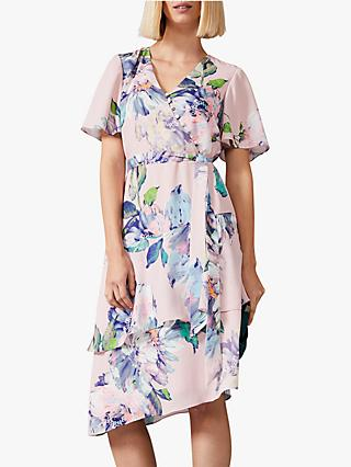 Phase Eight Vida Tier Floral Dress, Antique Rose