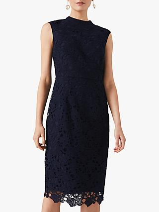 Phase Eight Gretal Lace Fitted Dress, Navy