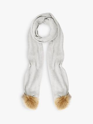 Mint Velvet Knitted Scarf, Light Grey