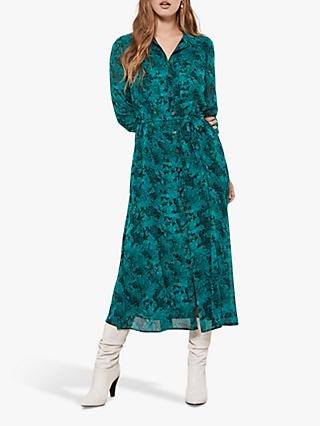 Mint Velvet Ali Snake Print Midi Shirt Dress, Multi