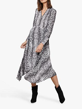 Mint Velvet River Leopard Print Midi Dress, Ivory/Silver