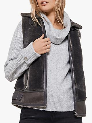 Mint Velvet Faux Fur Gilet, Dark Grey