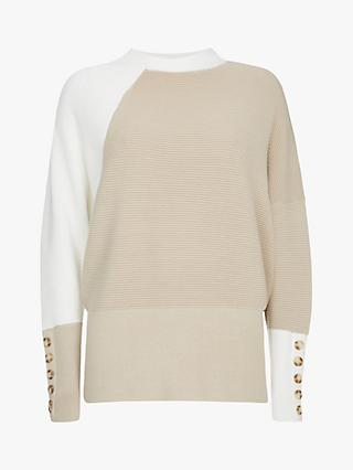 Mint Velvet Ottoman Stitch Colour Block Jumper, Natural