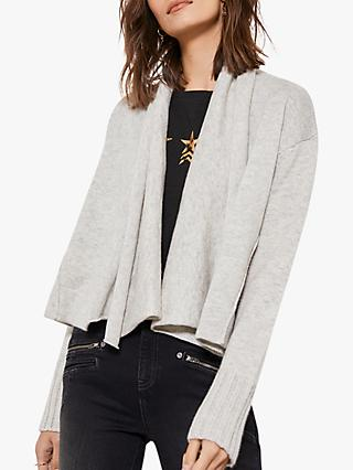 Mint Velvet Crop Cardigan, Light Grey
