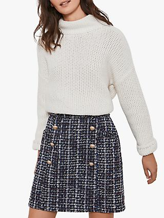 Mint Velvet Tweed Military Mini Skirt, Multi