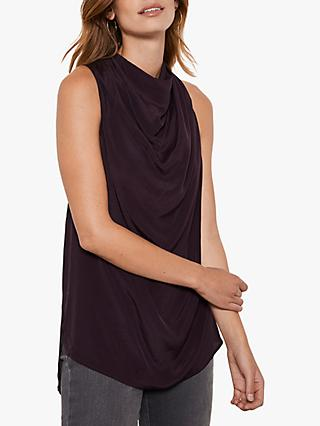 Mint Velvet Sleeveles Cowl Neck Top, Dark Red
