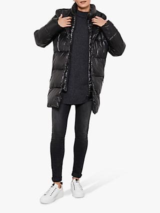 Mint Velvet Wet Look Padded Coat, Black