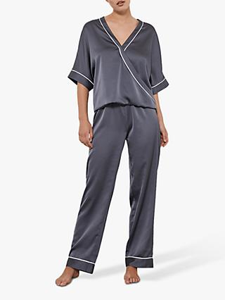 Hygge by Mint Velvet Satin Wrap Pyjama Top, Grey/Multi