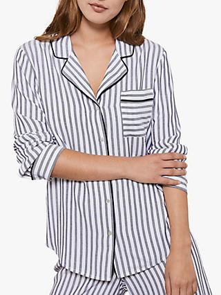 Hygge by Mint Velvet Ivory Stripe Pyjama Top, Natural