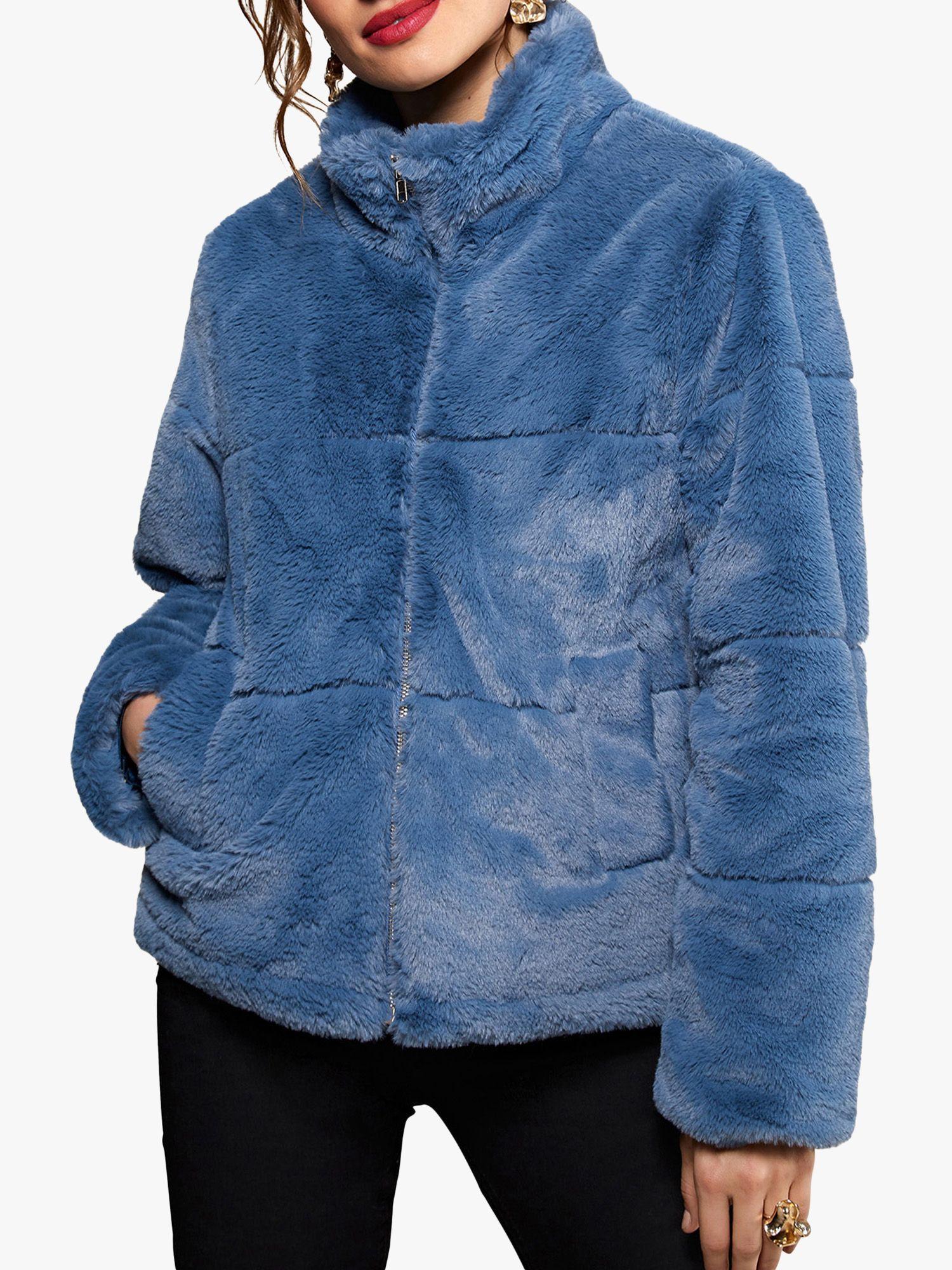 Yumi Yumi Faux Fur Funnel Neck Jacket, Blue