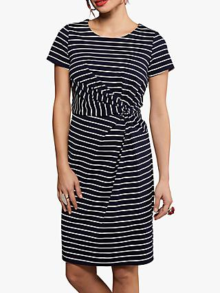 Yumi Nautical Stripes Ruched Pencil Dress, Navy
