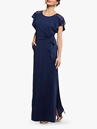 Yumi Ruched Lace Cut Out Maxi Dress, Navy