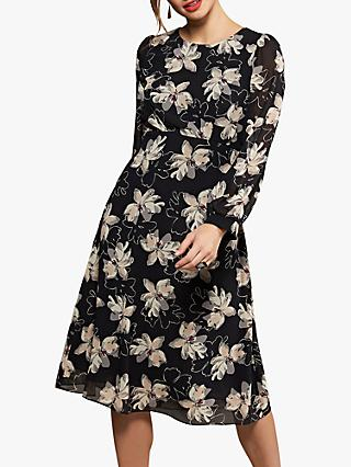 Yumi Flared Floral Dress, Black