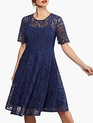 Yumi Lace Flared Dress, Navy
