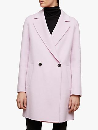 Jigsaw Double Breasted Double Face Coat, Candy Violet