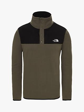 The North Face TKA Glacier Snap-Neck Fleece, New Taupe Green/TNF Black