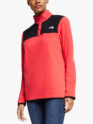 The North Face TKA Glacier Snap-Neck Fleece, Cayenne Red/TNF Black