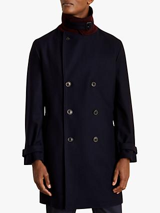 Jigsaw Denning Double Breasted Coat, Navy