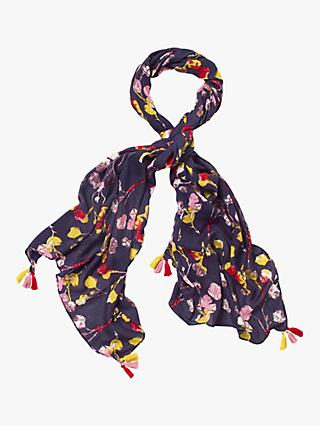 White Stuff Verity Floral Print Scarf, Navy/Multi