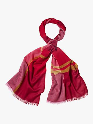 White Stuff Acre Multi Check Scarf, Teak Red