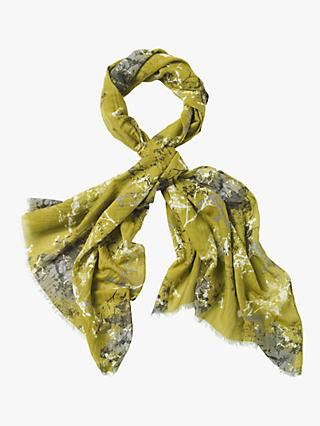 White Stuff Sycamore Cotton Silk Scarf, Ivy Green Print