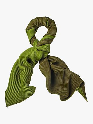 White Stuff Two Tone Pleated Midweight Scarf, Moss Green