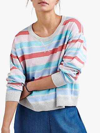NRBY Sleepy Tracey Striped Cotton Cashmere Sweater, Multi Stripe