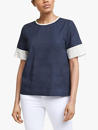 Marella Isabel Contrast Trim Top, Navy