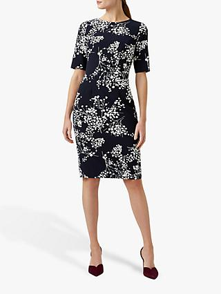 Hobbs Astraea Floral Dress, Navy/Ivory