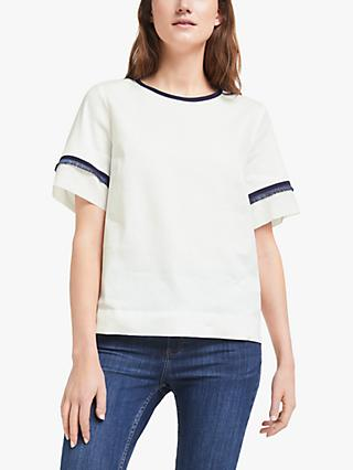 Marella Isabel Tassel Trim Linen Top, White