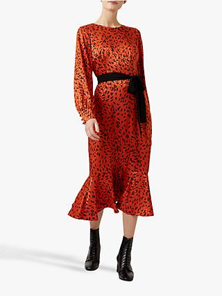 Hobbs Isla Animal Jacquard Dress, Burnt Orange