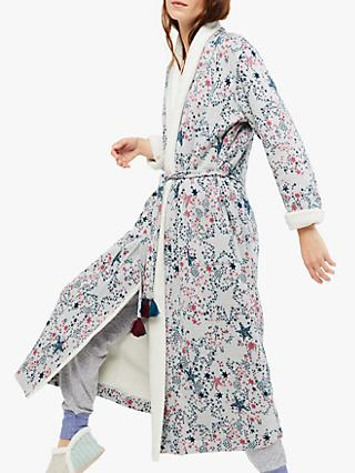 White Stuff Tis The Season Long Star Dressing Gown, Cosy Cream