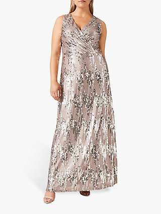 Studio 8 Daphne Sequin Wrap Maxi Dress, Silver