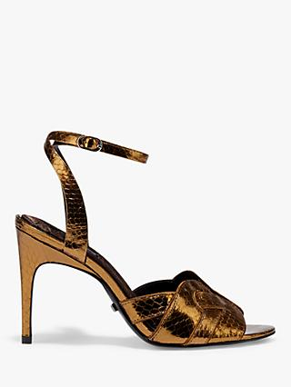 Reiss Amber Leather Stiletto Heel Sandals, Antique Gold