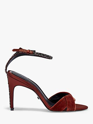 Reiss Hayden Velvet Stiletto Heel Sandals, Red Chestnut