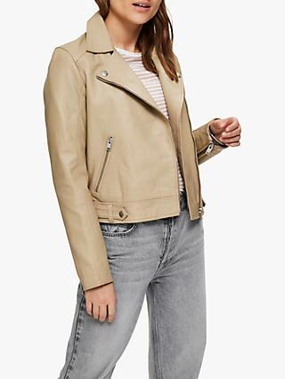 Selected Femme Katie Leather Jacket, Cornstalk