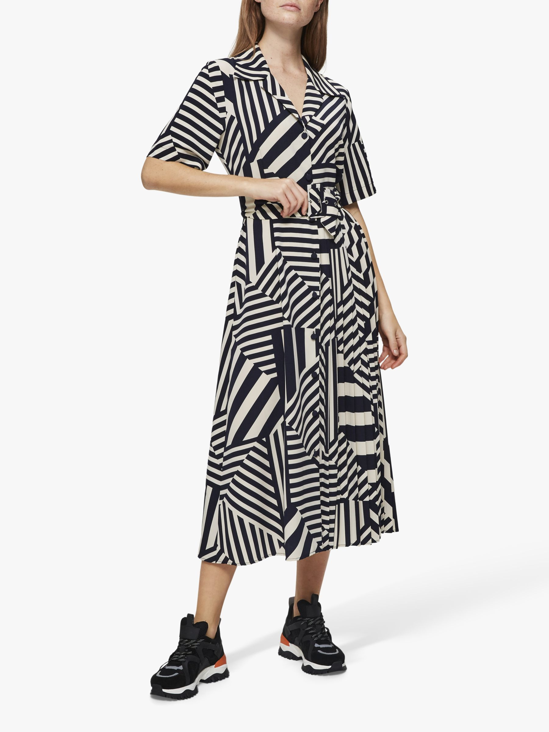 Selected Femme Selected Femme Aleena Oriana Midi Dress, Navy/White