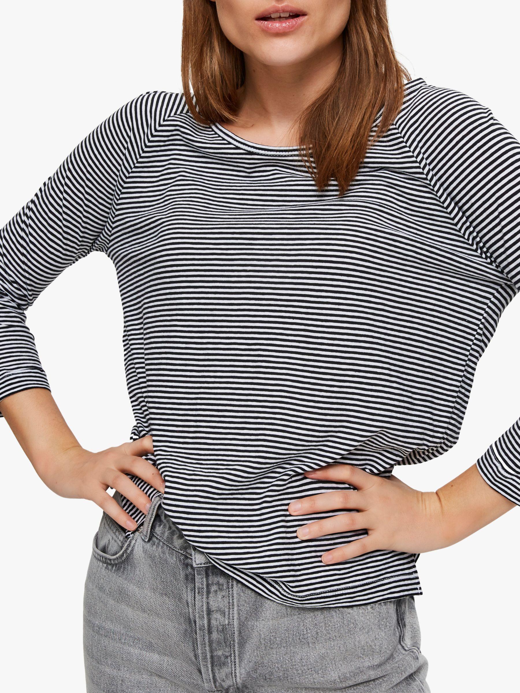 Selected Femme Selected Femme Astrid 3/4 Horizontal Stripe T-Shirt, Black/White