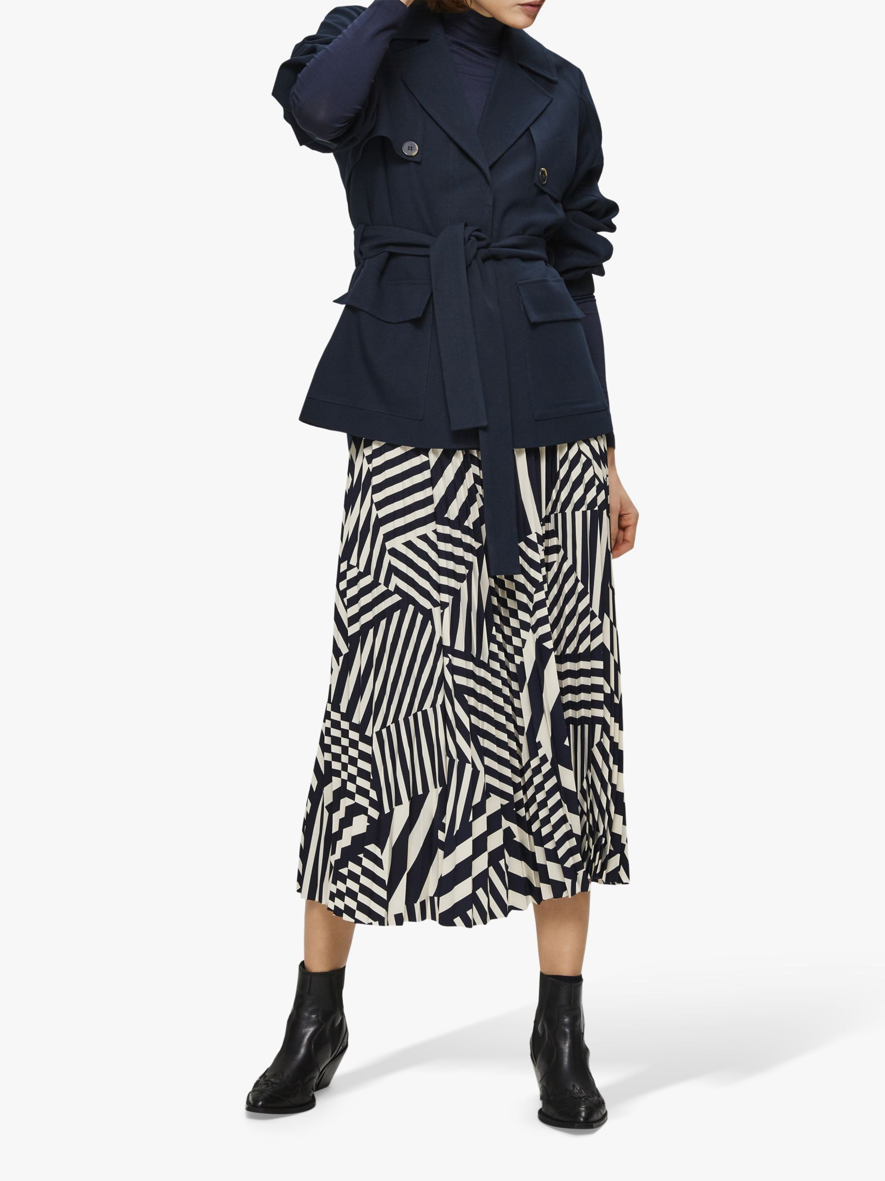 Selected Femme Selected Femme Alexis Geometric Print Midi Skirt, Navy/White