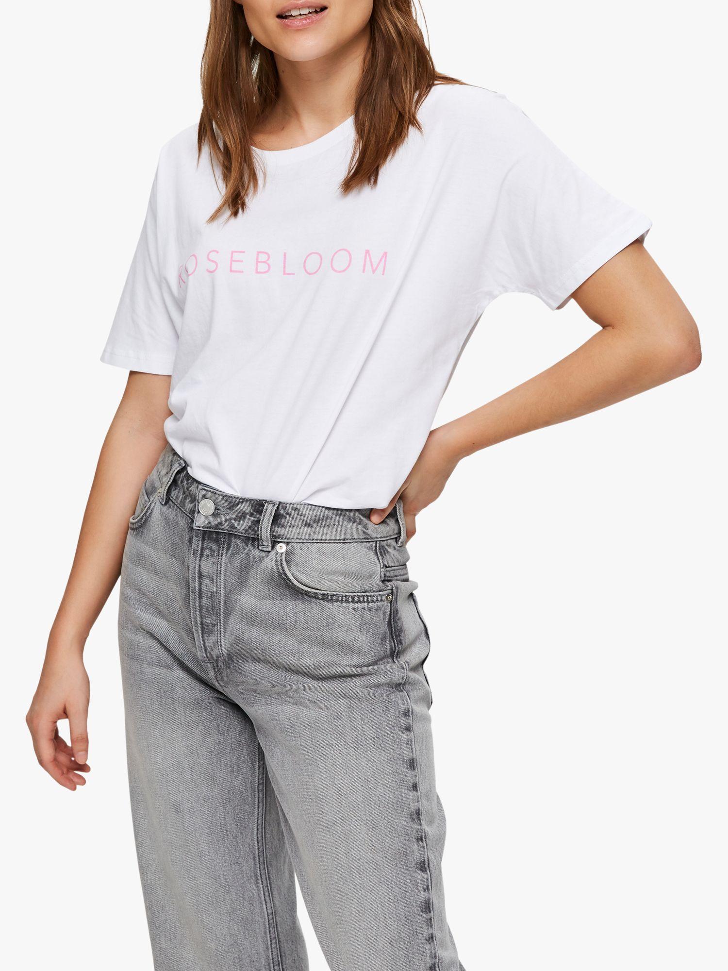 Selected Femme Selected Femme Rosebloom Cotton T-Shirt, White/Rosebloom