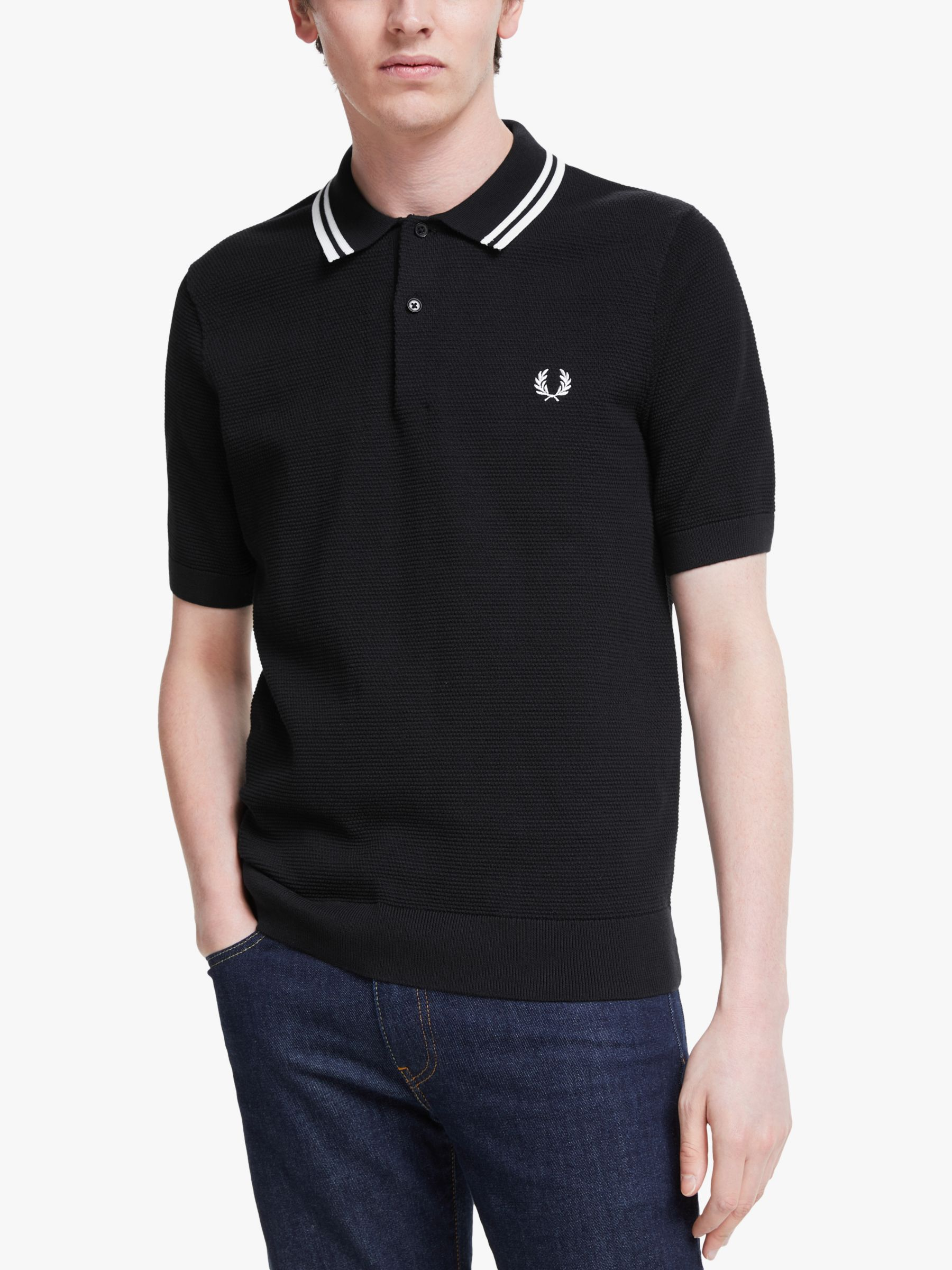 Fred Perry Fred Perry Textured Knitted Polo Shirt, Black
