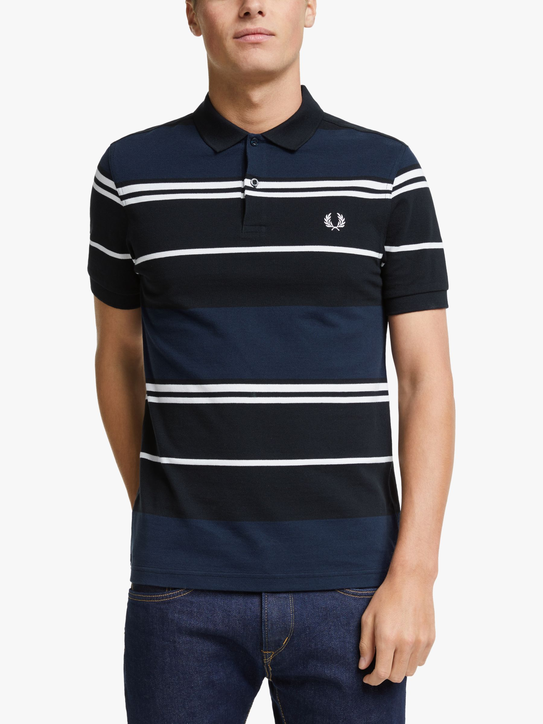 Fred Perry Fred Perry Stripe Polo Shirt, Carbon Blue