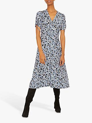 Jigsaw Shadow Ditsy Midi Tea Dress, Arctic Blue