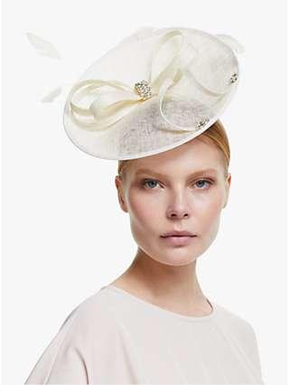 John Lewis & Partners Laurel Crystal Loop Disc Occasion Hat, Off White