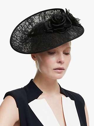 John Lewis & Partners Lucinda Flower Disc Occasion Hat, Black