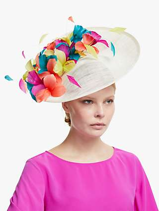 John Lewis & Partners Cordelia Flower Detail Disc Occasion Hat, Ivory/Multi